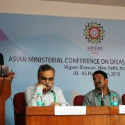 Aloysius Canete, Executive Director of A2D Project, presents lessons learned from working with government in promoting Disability-inclusive DRR at the Asian Ministerial Conference on Disaster Risk Reduction held in New Delhi, India. (Photo Credits to ASB Indonesia)